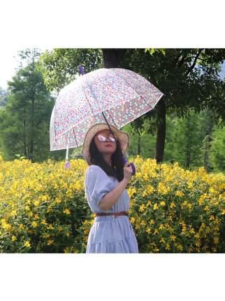 Зонт-трость МихиМихи Горошек прозрачный купол, фиолетовый