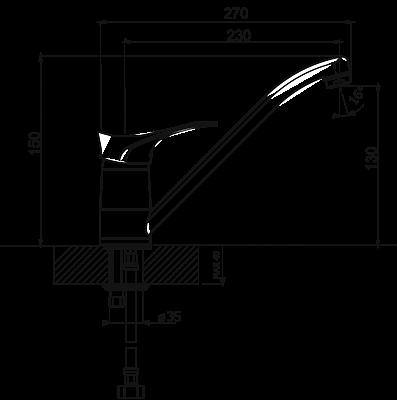 Смеситель для кухонной мойки Flortek FK-01 31FK.01L.1110.302 антрацит