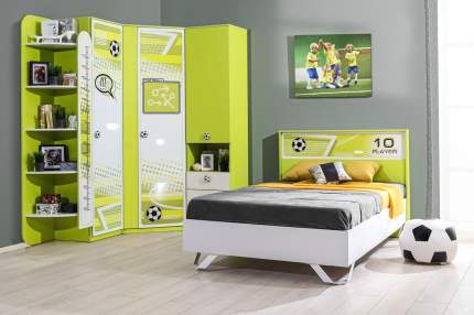 Платяной шкаф Hoff Футбол 80316958 91,5х209,2х91,5, лайм/белый экспо