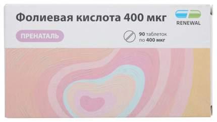 Фолиевая кислота таблетки 400 мкг №90/Renewal