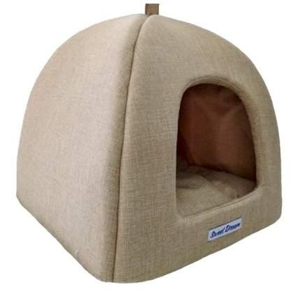 Домик для кошек и собак Бобровый Дворик Сладкий сон №2, бежевый, 42x38x42см