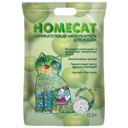 Впитывающий наполнитель для кошек HOMECAT силикагелевый, Яблоко, 5.9 кг, 12.5 л