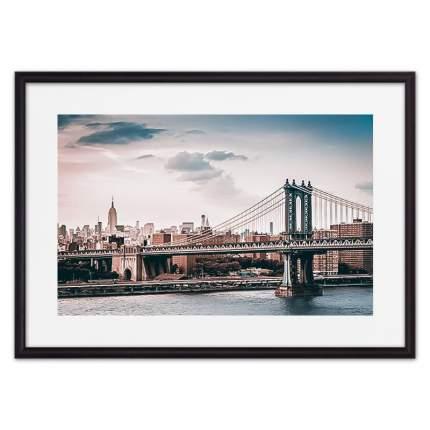 Постер в рамке Мост Манхэттена 50х70 см