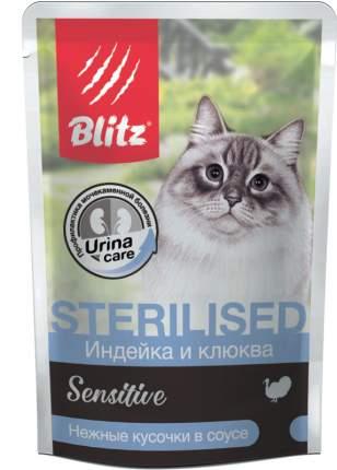 Влажный корм для кошек BLITZ Sterilised Sensitive, индейка и клюква в соусе, 85г