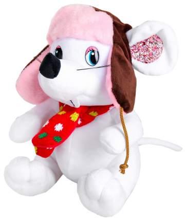 """Мягкая игрушка """"Белая мышка"""" в ушанке, 20 см Sima-Land"""