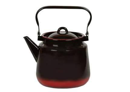 Чайник эмалированный 3,5л черн с красным подпыл 2с26я