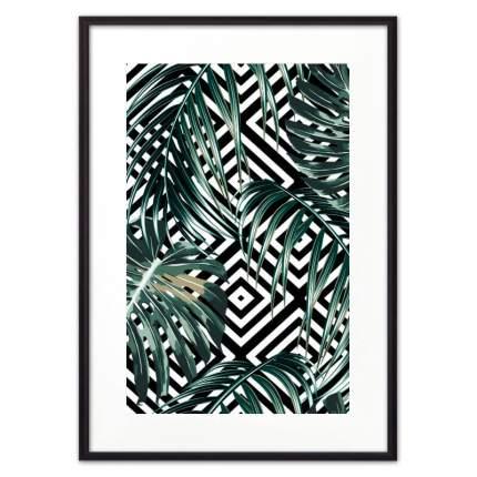 Постер в рамке Пальмовые листья графика 21х30 см
