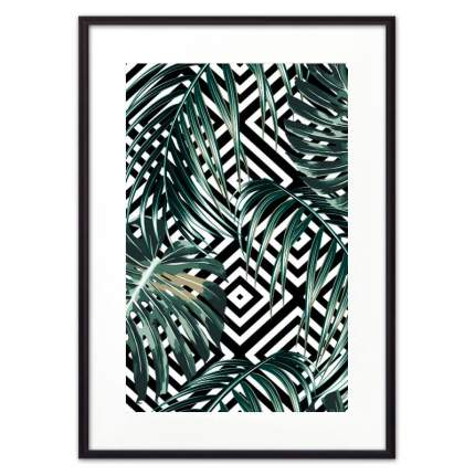 Постер в рамке Пальмовые листья графика 40х60 см