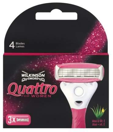 Wilkinson Sword Quattro for Women/Aloe Сменные кассеты для бритвы, 3 шт.
