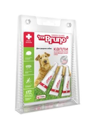 Капли для средних собак против блох, клещей, комаров Mr.Bruno Green Guard, 3 пипетки, 1 мл
