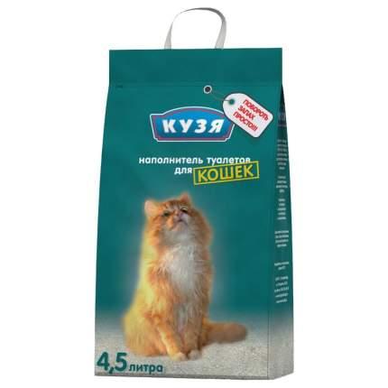 Впитывающий наполнитель для кошек Кузя бентонитовый, 2.5 кг, 4.5 л, 4 шт