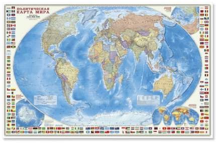 Геодом карта настенная, Мир политический С Флагами, М1: 24 Млн, 124Х80 См
