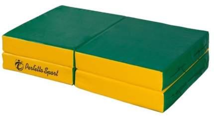 """Мат № 11 (100 х 100 х 10) складной 4 сложения """"PERFETTO SPORT"""" зелёно/жёлтый"""