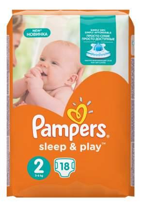 Подгузники для новорожденных Pampers Sleep & Play 2 (3-6 кг), 18 шт.