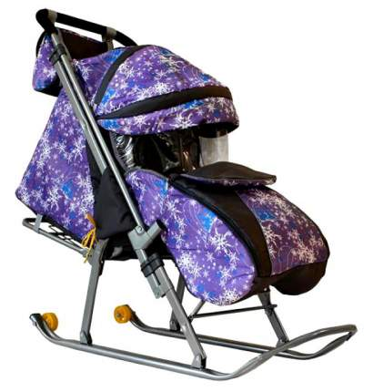 Санки-коляска Galaxy Галактика Скандинавия, елки/фиолетовый
