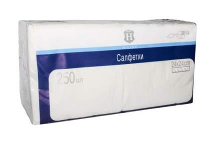 Бумажные салфетки H-Line двухслойные белые 24*24 см 250 штук