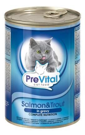 Консервы для кошек PreVital, с лососем и форелью в соусе, 415г
