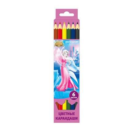 Набор цветных карандашей ПРИНЦЕССЫ-ВОЛШЕБНИЦЫ 6 цв. шестигранные с заточкой