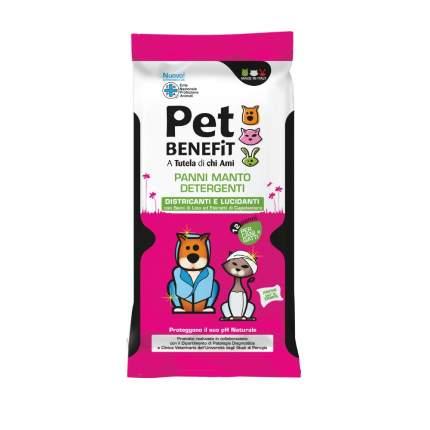 Влажные салфетки для животных Pet Benefit, для ухода за шерстью, 12шт