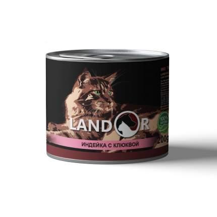 Консервы для кошек Landor, для стерилизованых, индейка с клюквой, 200г