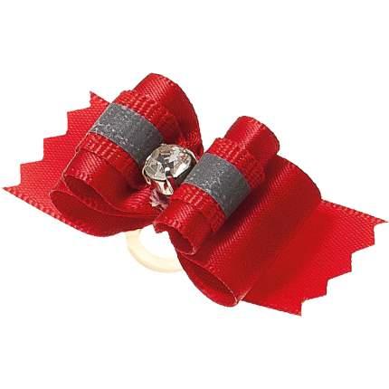 Бантик для собак ZooOne Ностальжи, пара,светоотражающий,тройной объёмный,красный,4,5х1,5см