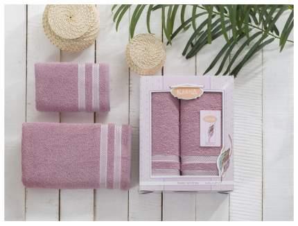 Комплект махровых полотенец Karna Petek грязно-розовый 50х90+70х140