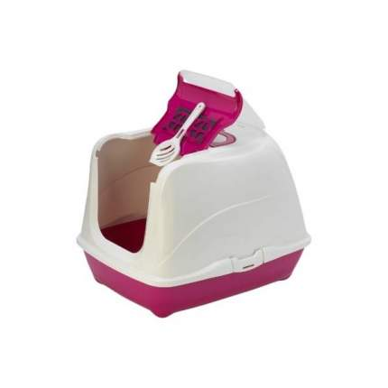 Туалет для кошек MODERNA Flip Cat, прямоугольный, розовый, белый, 50х39х37 см
