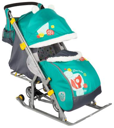 Санки-коляска Ника детям 7-2 Коллаж-лисичка Изумруд