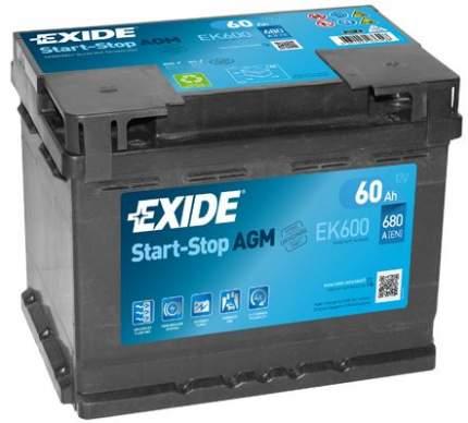 Аккумулятор автомобильный EXIDE EK600 60 Ач