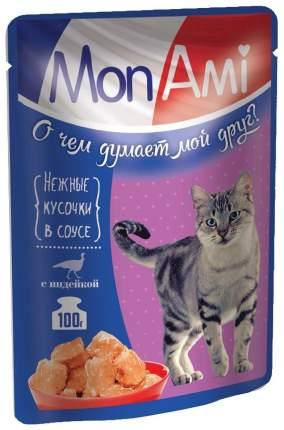 Влажный корм для кошек MonAmi, индейка, 24шт, 100г