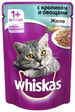 Влажный корм для кошек Whiskas Желе с кроликом и овощами, 85 г, 24 шт