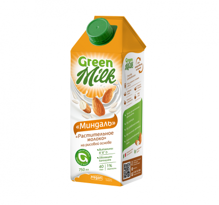 Растительный напиток Green Milk на рисовой основе миндаль 0.75 л