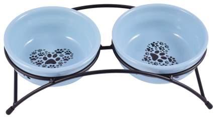 Набор мисок для кошек и собак КерамикАрт, керамика, синий, черный, 2 шт по 0.29 л