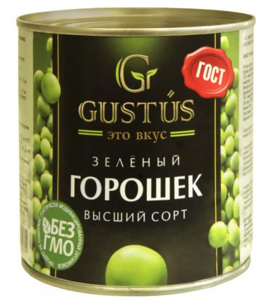 Горошек зеленый Gustus из мозговых сортов высший сорт 400 г