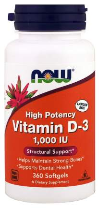 Витамин D NOW Vitamin D-3 1000 Me 360 капс.