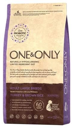 Сухой корм для собак ONE&ONLY Adult Large Breeds, индейка, рис, 12кг