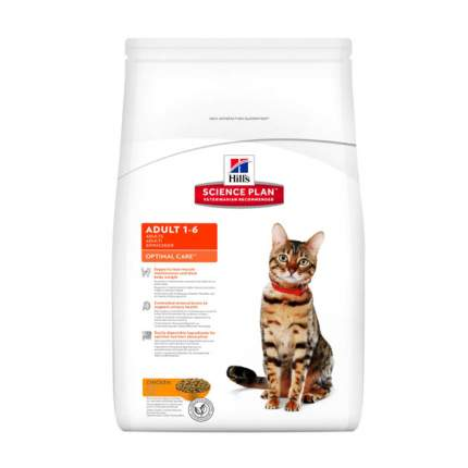 Сухой корм для кошек Hill's Science Plan Optimal Care, курица, 8кг
