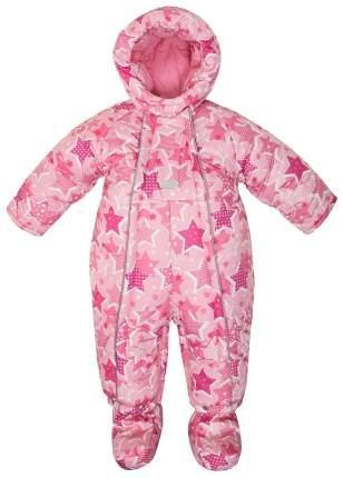 Комбинезон с башмачками зимний для девочки Barkito, розовый с рисунком звезды р.62