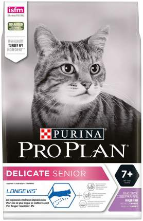 Сухой корм для кошек PRO PLAN Delicate Senior, индейка, 3кг