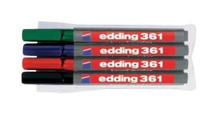 Набор edding маркеров для белых досок, круглый наконечник, 1 мм, 4 цвета в наборе