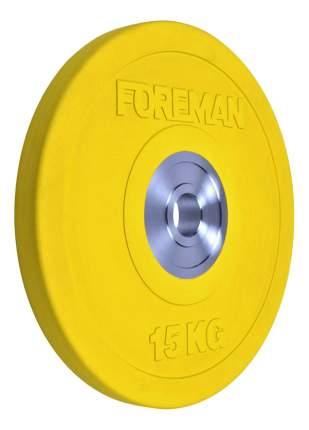 Блин обрезиненный Foreman 15 кг сталь FM/BM-15KG-YL 51 мм желтый