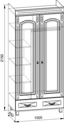 Платяной шкаф Компасс-мебель Элизабет ЭМ-6 KOM_EM6_1 100x55x215, береза