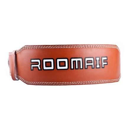 "Пояс для тяжелой атлетики Roomaif RLB-103 коричневый, XXL, 4"""
