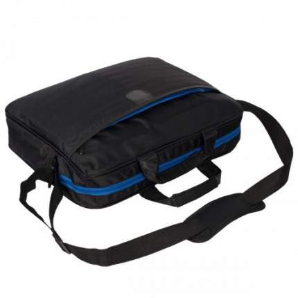 Сумка для ноутбука 40х30х10 черная с синим замком