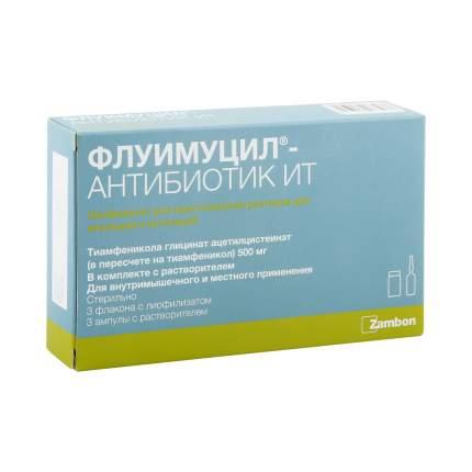 Флуимуцил-антибиотик ИТ лиофилизат 500 мг 3 шт.