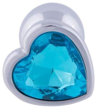 Серебристая анальная пробка с голубым кристаллом-сердцем 7 см