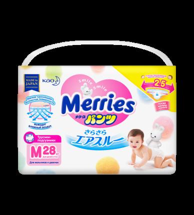 Подгузники-трусики Merries M (6-10 кг), 28 шт.