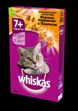 Сухой корм для кошек Whiskas старше 7 лет, вкусные подушечки с паштетом, птица, 0,35кг