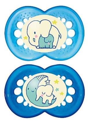 Силиконовая пустышка ортодонтическая MAM Night слоники голубо-синяя
