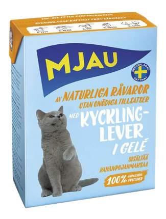 Влажный корм для кошек Mjau Chunks in Jelly, мясные кусочки в желе с куриной печенью, 380г
